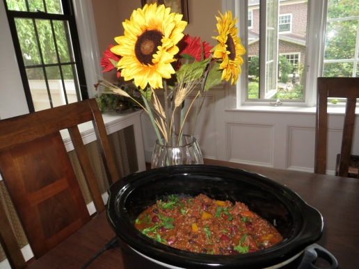 Ready to transport the chili in a crockpot