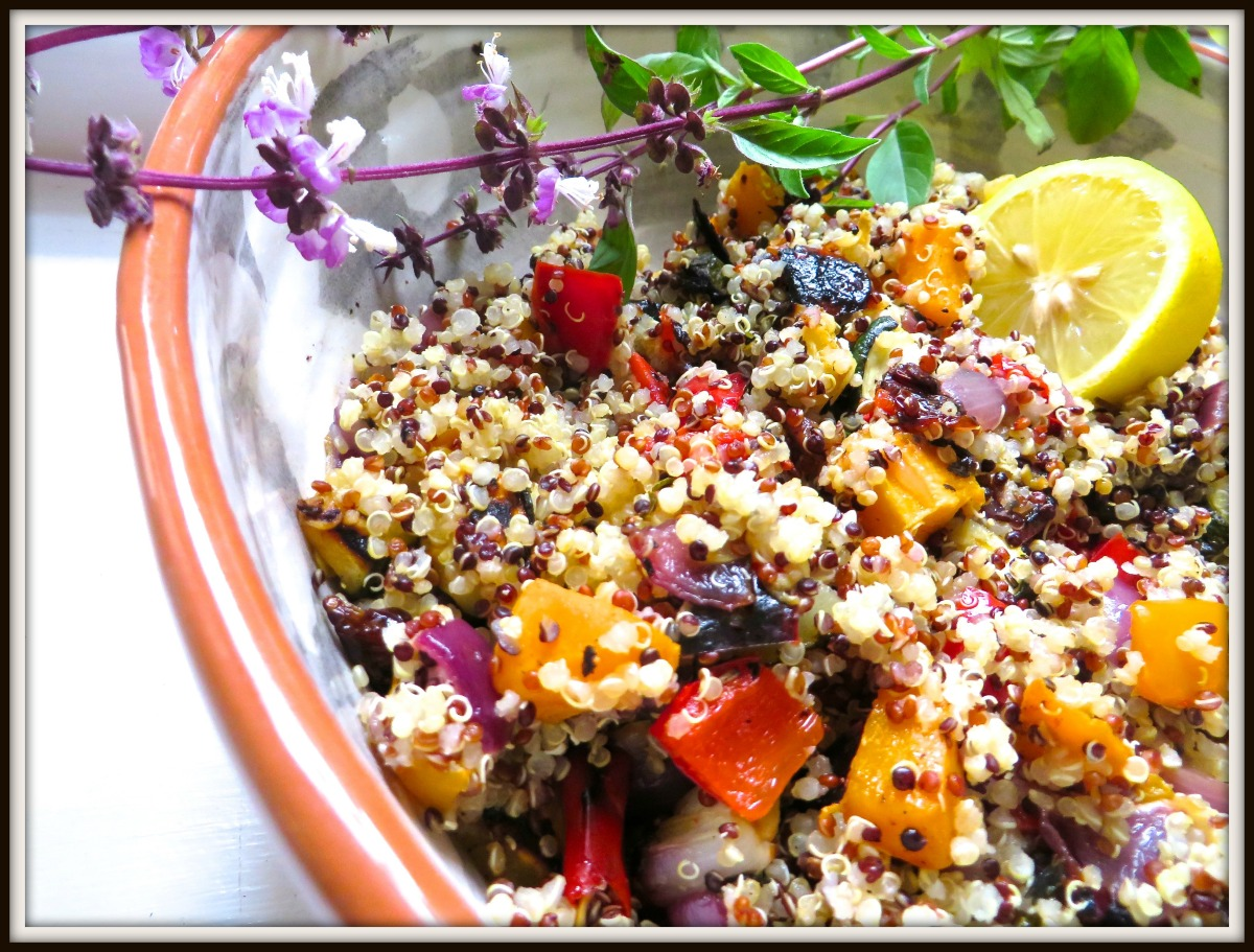 Tri-color organic Quinoa with roasted vegetables