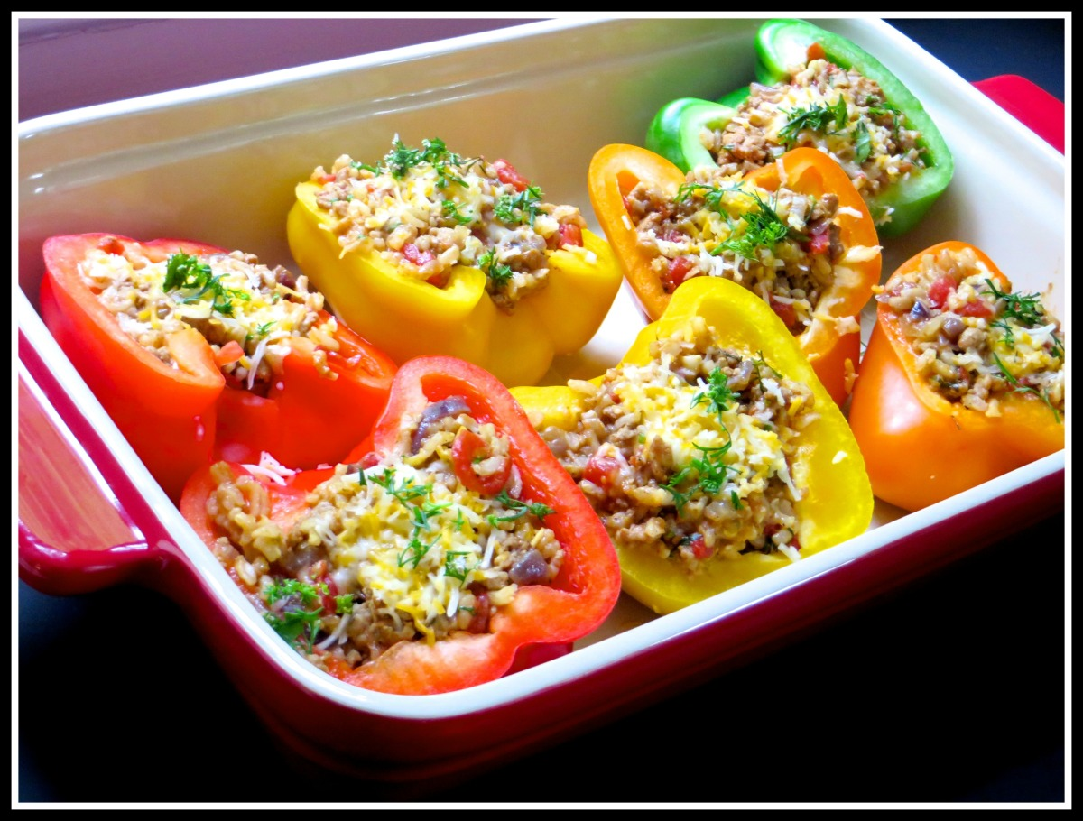 how to make stuffed peppers with rice and ground turkey